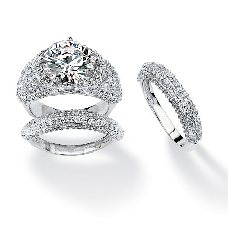 9.22 TCW Round Cubic Zirconia Bridal Set Platinum Plated with Bonus Buy at PalmBeach Jewelry