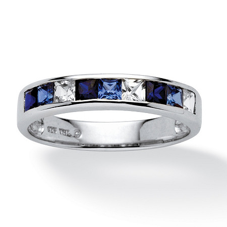 .63 TCW Princess-Cut Blue and White Sapphire Ring in Platinum over Sterling Silver at PalmBeach Jewelry