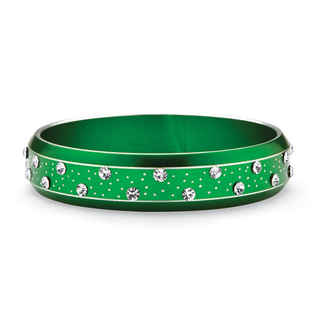 Crystal Bangle Bracelet in Green Ion Plated Stainless Steel at PalmBeach Jewelry