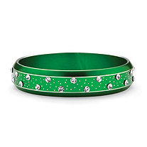 SETA JEWELRY Crystal Bangle Bracelet in Green Ion Plated Stainless Steel