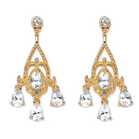 4.22 TCW Pear-Cut White Topaz Chandelier Earrings in 18k Gold-Plated at PalmBeach Jewelry