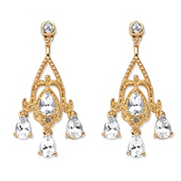 4.22 TCW Pear-Cut White Topaz Chandelier Earrings In 18k Gold-Plated ONLY $13.99