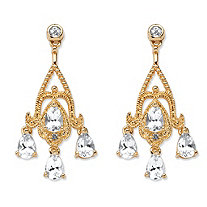 SETA JEWELRY 4.22 TCW Pear-Cut White Topaz Chandelier Earrings in 18k Gold-Plated