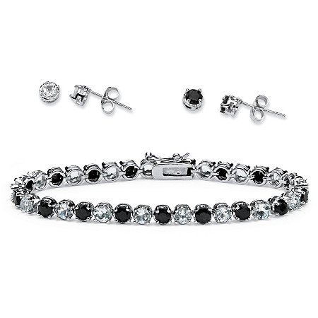 Midnight Sapphire and Topaz Bracelet and 2-Pair Earrings Set in Silvertone at PalmBeach Jewelry