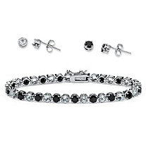 Midnight Sapphire and Topaz Bracelet and 2-Pair Earrings Set in Silvertone