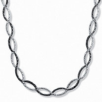 1/4 TCW Black and White Diamond Crossover Necklace in Silvertone 17""