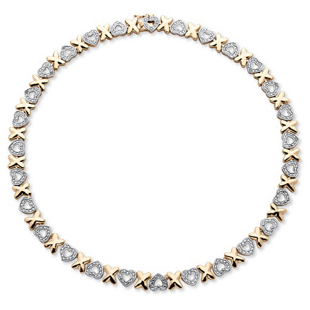"Diamond Accent Hearts and Kisses Necklace in 18k Gold-Plated 17"" at PalmBeach Jewelry"