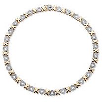 Diamond Accent Hearts and Kisses Necklace in 18k Gold-Plated 17""