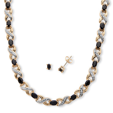 16.21 TCW Oval-Cut Black Sapphire and Diamond Accent Infinity Jewelry 18k Gold-Plated at PalmBeach Jewelry