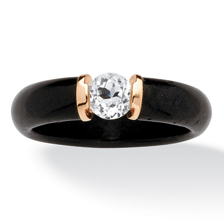 .56 TCW Black Jade and White Topaz Ring in 10k Gold at PalmBeach Jewelry