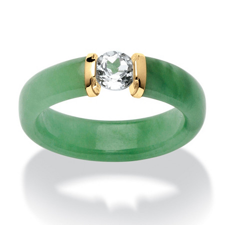 .56 TCW White Topaz and Jade Ring in 10k Gold at PalmBeach Jewelry