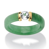 SETA JEWELRY .56 TCW White Topaz and Jade Ring in 10k Gold