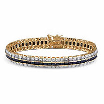SETA JEWELRY 13.75 TCW Princess-Cut Midnight Sapphire and Diamond Accented Tennis Bracelet in 18k Gold-Plated