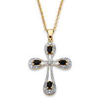 1.40 TCW Oval-Cut Midnight Sapphire and Diamond Accent Cross Necklace 18k Gold over Sterling Silver