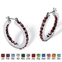 "Birthstone Inside- Out Hoop Earrings in Silvertone (1 1/4"")"
