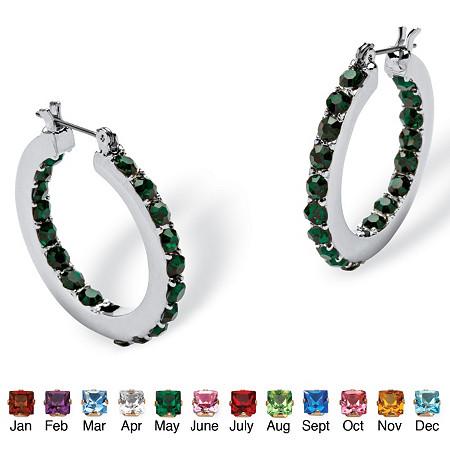 Birthstone Inside- Out Hoop Earrings in Silvertone at PalmBeach Jewelry