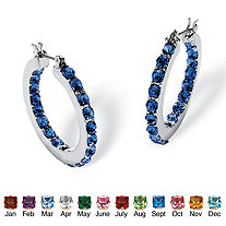 Round Simulated Birthstone Inside-Out Hoop Earrings in Silvertone 1.25""