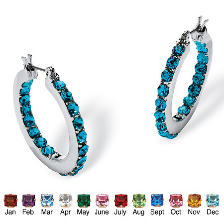 Birthstone Inside- Out Hoop Earrings in Silvertone at PalmBeach Jewelry