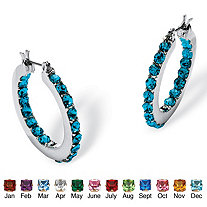 Round Simulated Birthstone Inside-Out Hoop Earrings in Silvertone 1.25