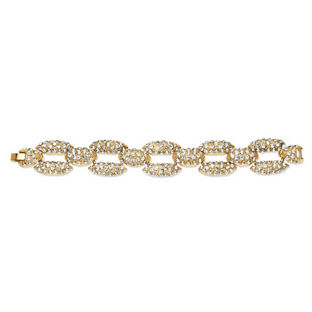 Pave Crystal Panther Link Bracelet in Yellow Gold Tone at PalmBeach Jewelry