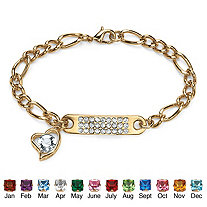 """Birthstone I.D. Plaque and Heart Charm Figaro-Link Bracelet in Yellow Gold Tone 7"""""""