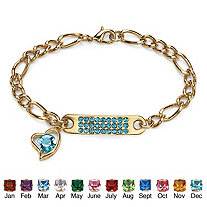 Birthstone I.D. Plaque and Heart Charm Figaro-Link Bracelet in Yellow Gold Tone 7""