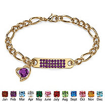 Simulated Birthstone I.D. Plaque and Heart Charm Figaro-Link Bracelet in Yellow Gold Tone 7""