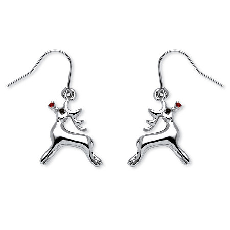 Rudolph Reindeer Red Crystal Drop Earrings in Silvertone at PalmBeach Jewelry