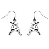 Rudolph Reindeer Red Crystal Drop Earrings in Silvertone