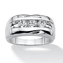 SETA JEWELRY Men's .84 TCW Round Cubic Zirconia Ring in Platinum Plated Sizes 8-16