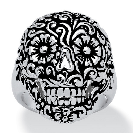 Etched Flower and Scroll Motif Smiling Skull Ring Platinum-Plated at PalmBeach Jewelry