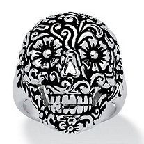 Etched Flower and Scroll Motif Smiling Skull Ring Platinum-Plated