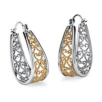 "Two-Tone Filigree Hoop Earrings in Silvertone and Yellow Gold Tone (1 1/8"")"