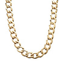 "Curb-Link Chain Necklace in Yellow Gold Tone 18""-21"" (17mm)"