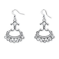 4.75 TCW Round Cubic Zirconia Chandelier Earrings in Platinum-Plated