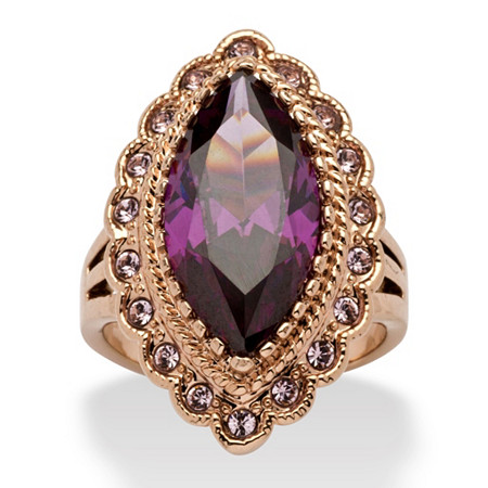 7.94 TCW Marquise-Cut Amethyst Cubic Zirconia Cocktail Ring in Rose Gold Ion-Plated at PalmBeach Jewelry