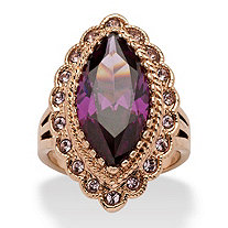 7.94 TCW Marquise-Cut Amethyst Cubic Zirconia Cocktail Ring in Rose Gold Ion-Plated