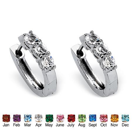 Birthstone Huggie Hoop Earrings in Platinum-Plated at PalmBeach Jewelry