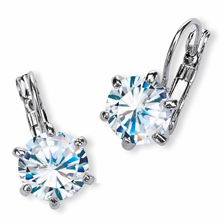 8 TCW Round Cubic Zirconia Drop Earrings Platinum-Plated at PalmBeach Jewelry