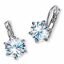 SETA JEWELRY 8 TCW Round Cubic Zirconia Drop Earrings Platinum-Plated