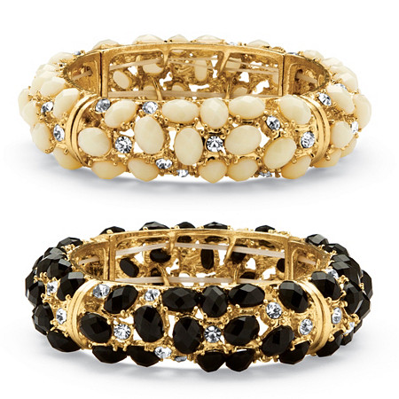 Ecru and Black Cabochon and Crystal Two-Piece Bracelet Set in Yellow Gold Tone at PalmBeach Jewelry