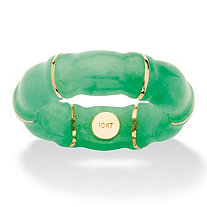 Genuine Green Jade Bamboo Ring in 10k Gold