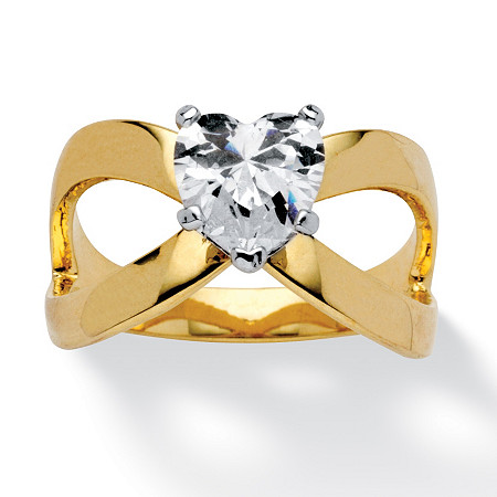 1.71 TCW Heart-Cut Cubic Zirconia Infinity Ring in 14k Gold-Plated at PalmBeach Jewelry