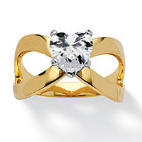 1.71 TCW Heart-Cut Cubic Zirconia Infinity Ring in 14k Gold-Plated