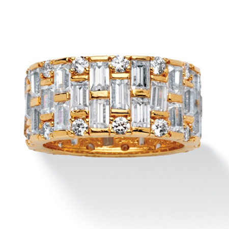 8.26 TCW Baguette and Round Cubic Zirconia Basket Weave Eternity Band in 14k Gold-Plated at PalmBeach Jewelry