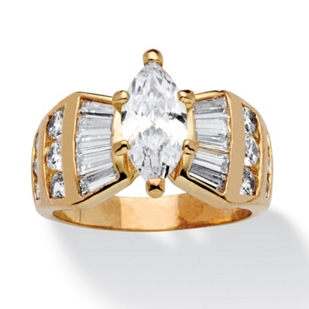 3.69 TCW Marquise-Cut Cubic Zirconia Ring in 14k Gold-Plated at PalmBeach Jewelry