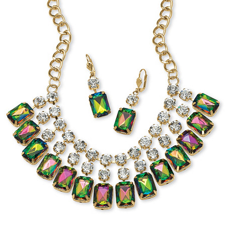 Emerald-Cut Mystic Crystal Bib Necklace and Earrings Set in Yellow Gold Tone at PalmBeach Jewelry