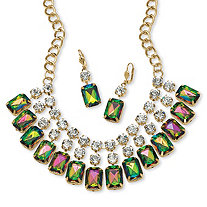 Emerald-Cut Mystic Crystal Bib Necklace and Earrings Set in Yellow Gold Tone
