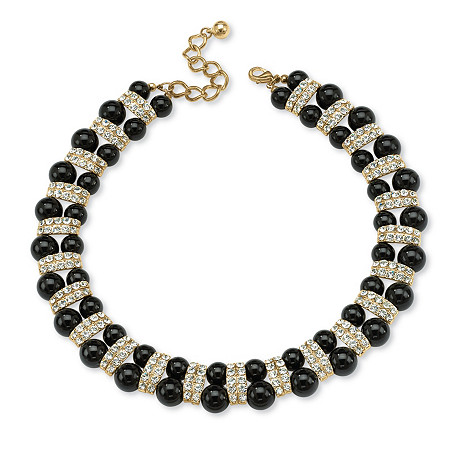 Black Beaded Necklace with Crystal Accents in Yellow Gold Tone at PalmBeach Jewelry