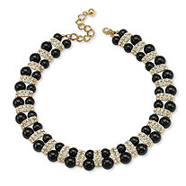 SETA JEWELRY Black Beaded Necklace with Crystal Accents in Yellow Gold Tone
